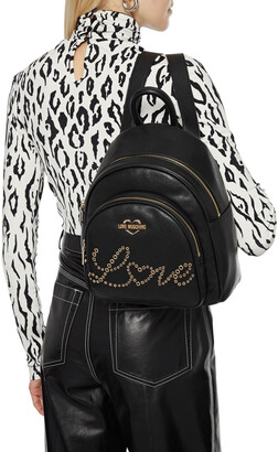 Love Moschino Eyelet-embellished Faux Textured-leather Backpack