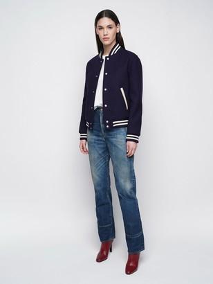 Saint Laurent Back Logo Wool & Leather Varsity Jacket