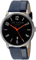 Ted Baker Men's 'DANIEL' Quartz Stainless Steel and Leather Dress Watch, Color: (Model: 10031568)
