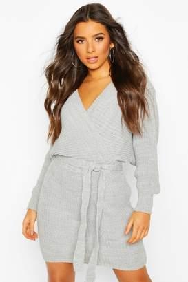 boohoo Rib Knit Wrap Knitted Dress