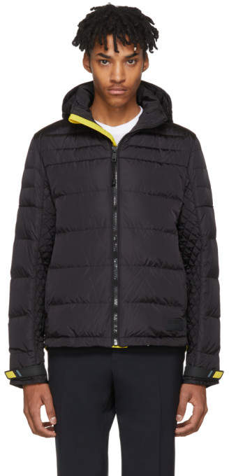Prada Black and Yellow Down Lightweight Puffer Jacket