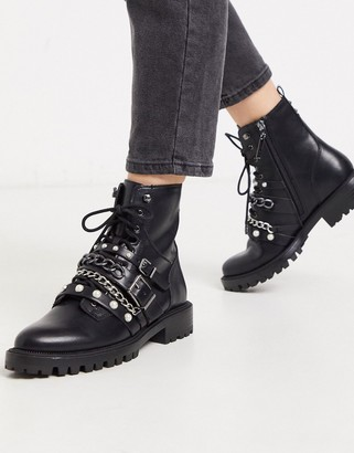 Stradivarius buckle and pearl strap boots in black