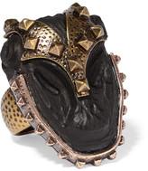 Valentino Burnished Gold-plated Ebony Ring - large