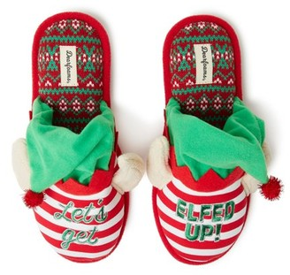 Dearfoams Unisex Holiday Elfed Up Novelty Scuff Slippers