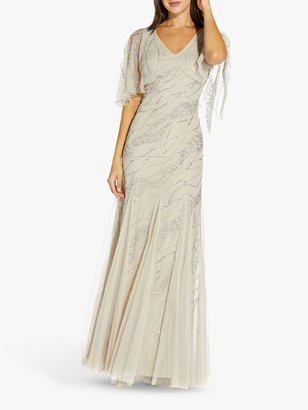 Adrianna Papell Beaded Flared Sleeve Floral Embellished Maxi Gown, Biscotti
