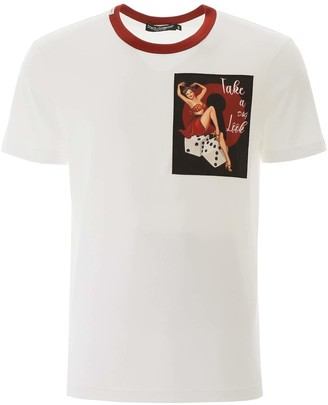 Dolce & Gabbana T-SHIRT WITH PATCH 48 White, Black, Red Cotton