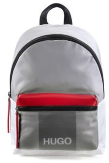 HUGO BOSS Nylon-gabardine backpack with faux-leather trims