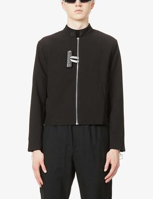 Pieces Uniques La Cle Lockers mandarin-collar stretch-crepe varsity jacket