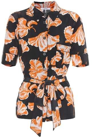 Ganni Geroux floral-printed silk shirt