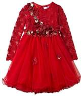 Lesy Red Lace and Applique Leather Flower Dress