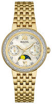 Bulova Diamond-Accented Goldtone Moon Phase Watch, 98R224