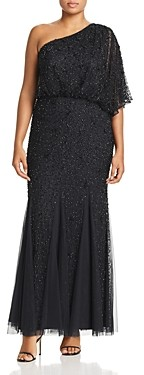 Adrianna Papell Plus Beaded One-Shoulder Gown