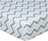American Baby Company 100% Cotton Percale Fitted Crib Sheet - Blue/Gray Zigzag
