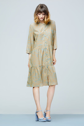 GR Nature - Kankuna Dress - Blue/Taupe - medium | silk | taupe - Taupe
