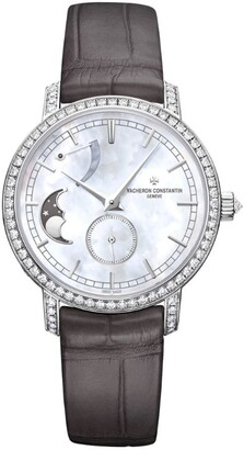 Vacheron Constantin White Gold and Diamond Traditionnelle Moon Phase Watch 36mm