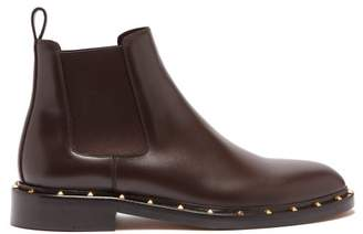 Valentino Rockstud Beatle Leather Chelsea Boots - Mens - Brown