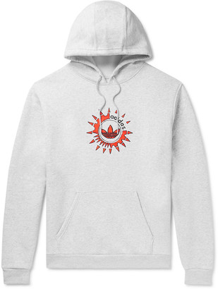 adidas Suntint Logo-Print Melange Fleece-Back Cotton-Blend Jersey Hoodie