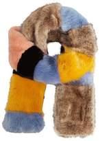 MANGO Striped faux fur scarf