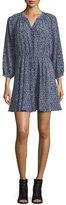 Rebecca Taylor 3/4-Sleeve Floral Silk Woodblock Dress, Ink Blue