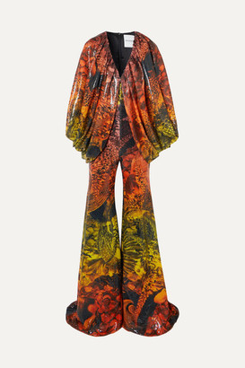 Halpern Draped Animal-print Sequined Stretch-tulle Jumpsuit - Orange