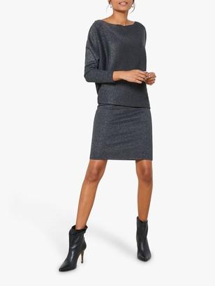 Mint Velvet Metallic Jumper Dress,Grey