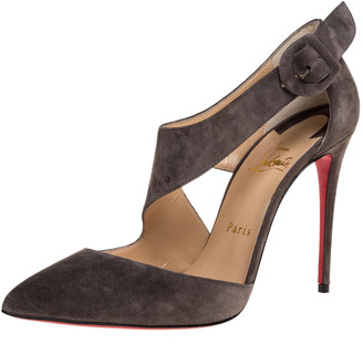 Christian Louboutin Grey Suede Leather Sharpeta Ankle Strap Pumps Size 38.5