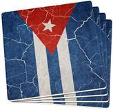 Old Glory Distressed Cuban Flag Set of 4 Square Sandstone Coasters Multi Standard One
