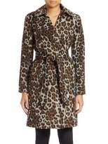 Ellen Tracy Leopard-Print Wrap Coat