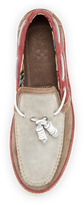 Vince Camuto Tesino Suede Boat Shoe, Taupe/Red