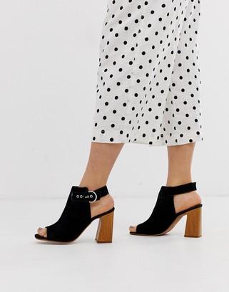 Asos Design DESIGN Hacienda leather peep toe boots-Black