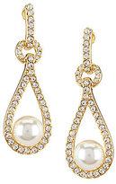 Nadri Cubic Zirconia & Faux-Pearl Clip-On Drop Earrings