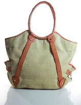 Elaine Turner Designs Beige Canvas Orange Leather Trim 4 Pocket Tote Handbag