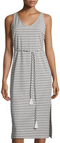 Neiman Marcus Sleeveless Striped Midi Dress, Black/Ivory