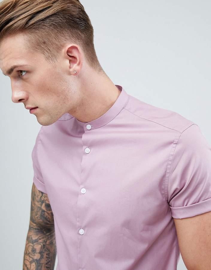 Asos Design DESIGN slim shirt in dusty pink with grandad collar