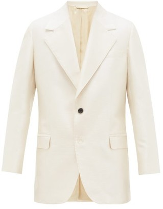Acne Studios Juno Single-breasted Cotton-blend Hopsack Blazer - Mens - White