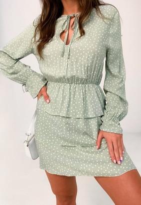 Missguided Mint Polka Dot Keyhole Tiered Smock Dress