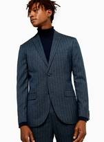 TopmanTopman Navy Pinstripe Slim Fit Single Breasted Blazer With Peak Lapels