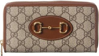 Gucci 1955 Horsebit Gg Supreme Canvas & Leather Zip Around Wallet