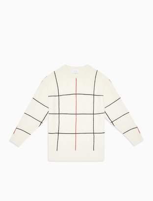 Calvin Klein Regular Fit Wool Blend Check Sweater