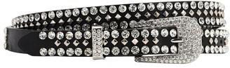 Veronica Beard 20mm Crystal & Stud Cowgirl Leather Belt