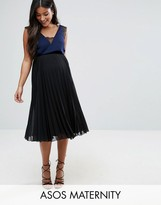 Asos Over The Bump Pleated Midi Skirt