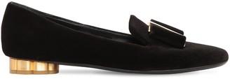 Salvatore Ferragamo 20mm Sarno Velvet Loafers W/ Bow