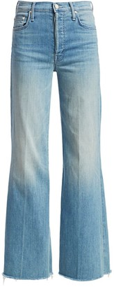 Mother Tomcat Roller High-Rise Frayed Wide-Leg Jeans
