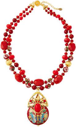 Jose & Maria Barrera 2-Strand Cloisonne Pendant Necklace, Red