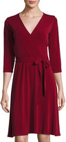 Neiman Marcus 3/4-Sleeve Perfect Wrap Dress, Wine