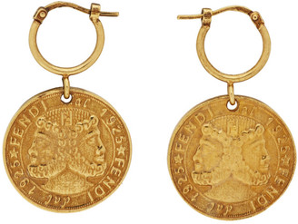Fendi Gold Karligraphy Earrings