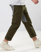 Asos Straight Carpenter Pants With Contrast Back Panel In Khaki