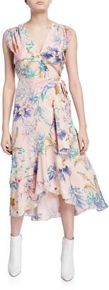 Yumi Kim Santorini Floral High-Low Sleeveless Silk Wrap Dress