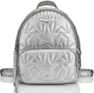 Jimmy Choo HELIA BACKPACK Anthracite Star Matelasse Metallic Nappa Leather Backpack