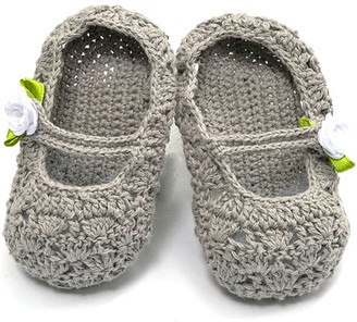 Loralin Design Girls' Infant Booties and Crib Shoes White - Gray & White Rose Knit Booties - Girls